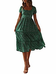 cheap -vintage floral midi dress for women puff sleeve square neck ruffles hem party beach dress green