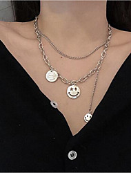 cheap -Women's Silver Layered Necklace Double Layered Face Fashion Classic Alloy Silver 45+6 cm Necklace Jewelry 1pc For