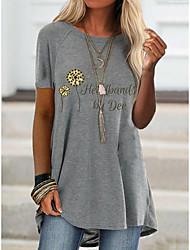 cheap -2021 amazon aliexpress spring new foreign trade cross-border fashion women's short-sleeved flower offset printing t-shirt 9110