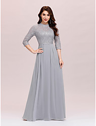cheap -A-Line Mother of the Bride Dress Plus Size Elegant Jewel Neck Floor Length Chiffon Lace 3/4 Length Sleeve with Lace 2021