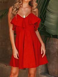 cheap -Women's Sundress Short Mini Dress Sleeveless Solid Color Summer Party Mini 2021 S M L XL 2XL