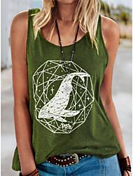 cheap -Women's Tank Top Vest T shirt Animal Print Round Neck Basic Tops Cotton Black Green Gray