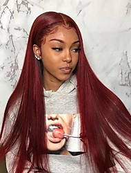 cheap -Unprocessed Virgin Hair 4x13 Closure Wig Middle Part style Brazilian Hair Burmese Hair Silky Straight Burgundy Wig Soft Natural Hairline Coloring With Bleached Knots Bleached Knots Women's 24 inch 14