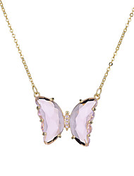 cheap -crystal glass butterfly necklace european and american ins wind short clavicle chain