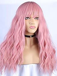 cheap -blswaner pink wig long wavy with air bangs synthetic hair long curly natural wavy soft full wigs for women