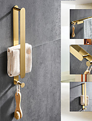 cheap -Golden Multifunctional Towel Bar with Hook 304 Stainless Steel Electroplated, 40cm, Brushed Gold, Bathroom and Kitchen Shelf Punch-free
