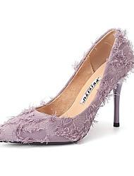 cheap -Women's Heels Stiletto Heel Pointed Toe Microfiber Almond Black Purple