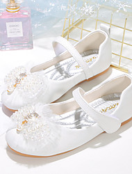 cheap -Girls' Flats Flower Girl Shoes Princess Shoes School Shoes Rubber PU Little Kids(4-7ys) Big Kids(7years +) Daily Party & Evening Walking Shoes Rhinestone Bowknot Sparkling Glitter White Pink Fall