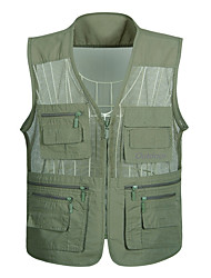 cheap -Men's Hiking Vest / Gilet Fishing Vest Sleeveless Vest / Gilet Jacket Top Outdoor Quick Dry Lightweight Breathable Sweat wicking Autumn / Fall Spring Summer off-white Army Green Gray Hunting Fishing