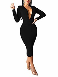 cheap -Women's A Line Dress Green Black Red Long Sleeve Solid Color Spring Summer Sexy 2021 S M L XL