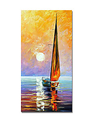 cheap -Oil Painting Hand Painted Abstract Boat Canvas Painting Comtemporary Simple Modern Stretched Canvas Ready to Hang