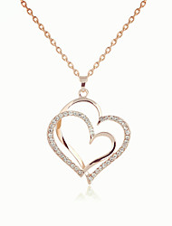 cheap -Women's Pendant Necklace Charm Necklace Heart Precious Fashion Zircon Rose Gold Plated Alloy Rose Gold 45 cm Necklace Jewelry 1pc For Christmas Halloween Party Evening Street Gift