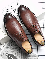 cheap -Men's Oxfords Printed Oxfords Leatherette Loafers Business Daily Walking Shoes Faux Leather Breathable Non-slipping Wear Proof Black Brown Spring