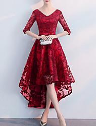 cheap -A-Line V Neck Asymmetrical Spandex Bridesmaid Dress with Bow(s) / Appliques