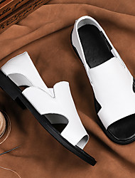 cheap -Men's Sandals Leather Shoes Flat Sandals Casual Vintage Classic Daily Outdoor Nappa Leather Cowhide Breathable Non-slipping Wear Proof Booties / Ankle Boots White Black Spring Summer