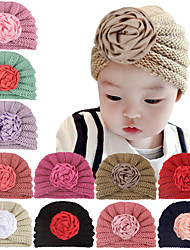 cheap -Kids Baby Girls' New Autumn And Winter Warm Children's Knitted Hat Cute Princess Ribbon Coil Flower Hat Baby Wool Hat