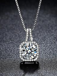 cheap -micro-inlaid necklace zircon square diamond clavicle chain korean pendant necklace female
