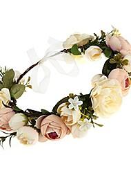 cheap -women flower headband wreath crown floral wedding garland wedding festivals photo props (champagne)