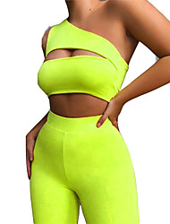 cheap -Women's 2pcs Tracksuit Yoga Suit Sports Bra with Shorts Cropped Wirefree Solid Color Emerald Green Yoga Fitness Gym Workout Shorts Tank Top Bra Top Sleeveless Sport Activewear Breathable Quick Dry