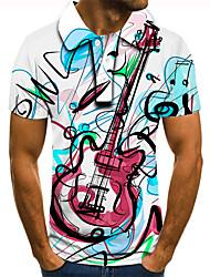 cheap -Men's Golf Shirt Tennis Shirt 3D Print Graphic Prints Guitar Button-Down Short Sleeve Street Tops Casual Fashion Cool Blue / Sports