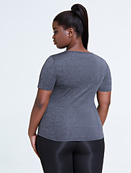cheap -cross-border plus size sports t-sleeve women loose fitness short shirt round neck yoga clothes tops gym half sleeve wholesale