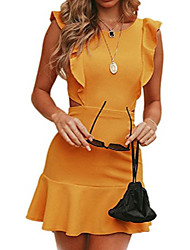 cheap -women summer mini dress hot ruffle backless bodycon party dresses yellow l