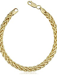 cheap -kooljewelry 14k yellow gold filled heavyweight unisex 6 mm franco link chain bracelet (8.5 inch)