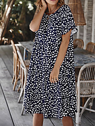 cheap -2021 spring and summer new product cross-border foreign trade women's clothing, wave dot printing splicing lotus leaf sleeve design loose dress women