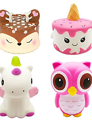 cheap -4Pcs Jumbo Slow Rising Squishies Kawaii Cute Deer Cake Narwhal Cake Dinosaur Owl Cream Scented Squishy Kids Toys Doll Stress Relief Toy Hop Props Decorative Props Large