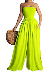 cheap -Women's Plus Size Plain Tube Top Wide Leg Jumpsuit Largr Size XL XXL 3XL 4XL 5XL