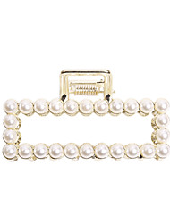 cheap -pearl catch clip square korean version ins rhinestone hair clip women's elegant large hair catch metal geometric hollow hair accessories