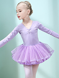 cheap -Ballet Dress Pleats Solid Ruffle Girls' Training Performance Long Sleeve High Cotton Blend Mesh