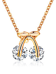 cheap -Women's Cubic Zirconia Pendant Necklace Necklace Classic Cherry Dainty Simple Fashion Classic Crystal Zircon Alloy Gold Silver 45 cm Necklace Jewelry 1pc For Party Evening Street Gift Birthday Party