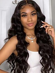 cheap -Unprocessed Virgin Hair 4x13 Closure Wig Middle Part style Brazilian Hair Burmese Hair Body Wave Black Wig Soft Natural Hairline Coloring With Bleached Knots Bleached Knots Women's 24 inch 14 inch 16