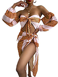 cheap -women sexy 2 piece bikini set - off shoulder tube cropped leopard print swimsuit with high split cover up orange l