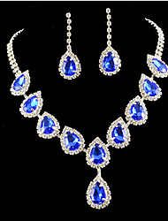cheap -Women's Jewelry Set Bridal Jewelry Sets 3D Pear Fashion Silver Plated Earrings Jewelry Blue / Champagne For Christmas Wedding Party Evening Gift Festival 1 set