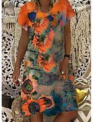 cheap -2021wish independent station summer new sunflower print women's v-neck short-sleeved dress