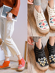cheap -Women's Sneakers Canvas Shoes Cuban Heel Round Toe Booties Ankle Boots Canvas Tissage Volant Lace-up Floral White Black Light Red