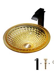 cheap -Bathroom Sink / Bathroom Faucet / Bathroom Mounting Ring Contemporary - Glass Bowl Vessel Sink