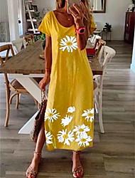 cheap -Women's Shift Dress Maxi long Dress Black Blue Yellow Gray Short Sleeve Daisy Floral Clothing Print Summer Round Neck Hot Casual vacation dresses 2021 S M L XL XXL 3XL