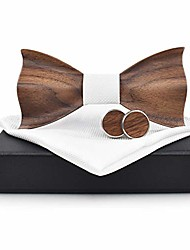 cheap -tie fashion wooden men's wooden bow tie 3d wood handmade bow tie wedding party business accessories (color : white, size : 59.5cm)