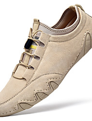 cheap -Mens Hand Stitching Loafers Suede Lightweight Soft Sole Driving Shoes Drawstring Leather Comfort Leisure Outdoor Spring Summer Beige Grey