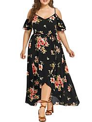 cheap -Women's Plus Size Dresses Swing Dress Maxi long Dress Floral Graphic Drawstring Spring White Black Blushing Pink L XL XXL XXXL 4XL
