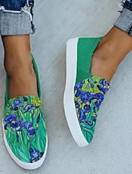cheap -Women's Flats Flat Heel Round Toe Canvas Floral Orange Green