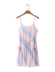 cheap -Women's Strap Dress Short Mini Dress Multicolor_1 Sleeveless Tie Dye Lace up Summer Strapless Sexy 2021 S M L