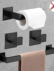 cheap -Bathroom Accessory Toilet Paper Holder / Robe Hook and Single Towel Rod New Design Self-adhesive Stainless Steel Wall Mounted Matte Black