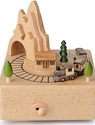 cheap -Wooden Music Box Train for Girls, Musical Box Smart Castle Toy Decoration Birthday Present for Lover Friends and Children Plays Spirited Away Song (Small Train)