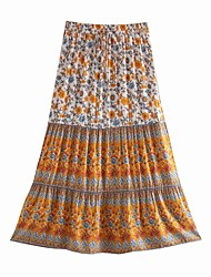 cheap -Women's Holiday Vacation Vintage Boho Skirts Floral Graphic Ruffle Print Blushing Pink Green Beige
