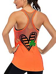 cheap -Women's Yoga Top Racerback Patchwork Heart Dark Grey Black Purple Burgundy Dark Green Mesh Cotton Fitness Gym Workout Running Tank Top T Shirt Sport Activewear Lightweight Breathable Quick Dry