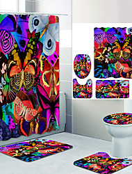 cheap -Iris Digital Printing Four-piece Set Shower Curtains and Hooks Modern Polyester Machine Made Waterproof Bathroom